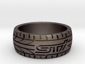 Subaru STI ring - 18 mm (US size 8) in Polished Bronzed Silver Steel
