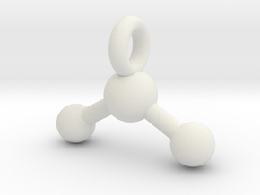 3D Printed Metal Water Molecule Key chain in White Natural Versatile Plastic