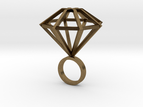 Big Diamond Ring - size 6 in Natural Bronze