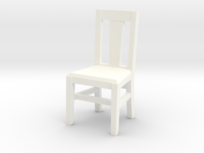 Miniature 1:48 Kitchen Chair in White Processed Versatile Plastic