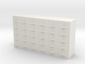 Miniature 1:48 Filing Cabinet in White Natural Versatile Plastic