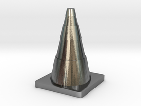 Construction Cone Custom Board Game Piece  in Polished Silver