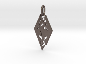 Skyrim Pendant in Polished Bronzed Silver Steel