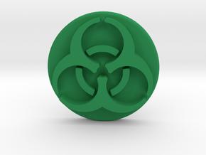 Pandemic Infection Marker -- Biohazard Symbol in Green Processed Versatile Plastic