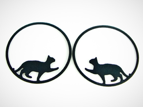Give Me Some Food Cat Hoop Earrings 40mm in Black Natural Versatile Plastic