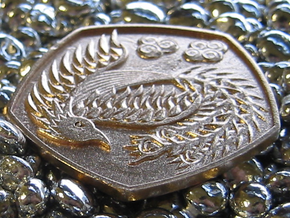 Detailed Dragon Coin in Natural Bronze