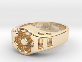 US14 Ring XIX: Tritium (Silver) in 14K Yellow Gold