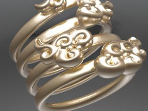 Four Clouds - size 6.5-7 - in Matte Gold Steel