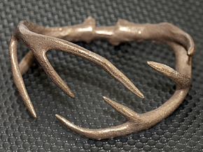 Antler Bracelet Medium/Small (75mm)  in Polished Bronzed Silver Steel