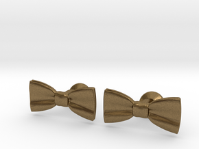 Bow Tie Cufflinks in Natural Bronze