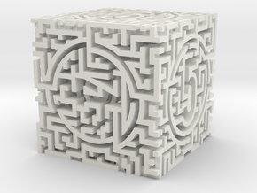 Labyrinthine d6 in White Natural Versatile Plastic