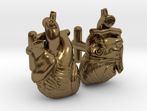 Anatomical Heart Cufflinks Pair (Front and Back) in Polished Bronze