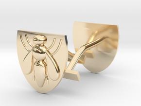 Bee (industry) cufflinks in 14K Yellow Gold