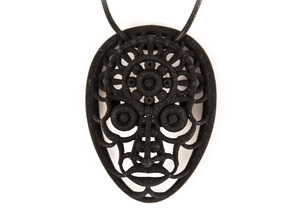 Face Pendant in Black Natural Versatile Plastic