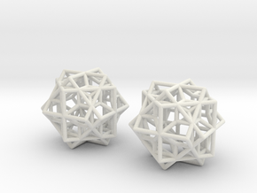 Escher Tricube Earrings from Waterfall in White Natural Versatile Plastic