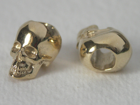 Skull Bead Doubled in Polished Brass