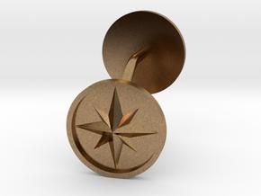 Compass cufflinks in Natural Brass