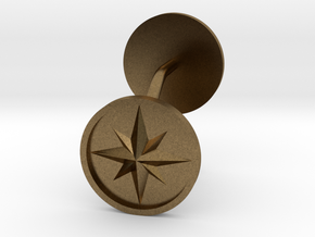 Compass cufflinks in Natural Bronze