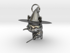 Magician of black cat in Polished Silver