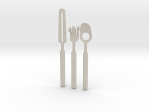 Knife Fork Spoon Set - Innovation vs. Utiltiy in Natural Sandstone