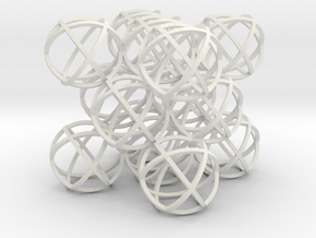 """Packed Spheres Cuboctahedron - 3.6"""" in White Natural Versatile Plastic"""