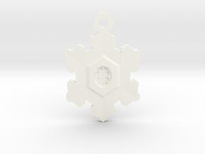 Snowflake Zipper Pull in White Processed Versatile Plastic