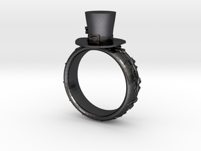 St Patrick's hat ring(size = USA 4-4.5) in Polished and Bronzed Black Steel