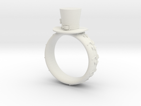 St Patrick's hat ring(size = USA 7.5-8) in White Natural Versatile Plastic