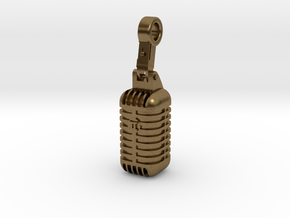 very detailed retro Microphone Pendant in Natural Bronze