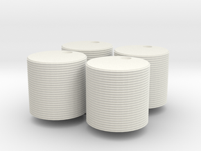 Four 1000 gallon watertanks (HO) in White Natural Versatile Plastic