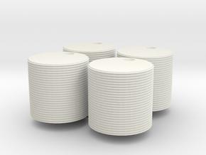 Four 1000 gallon watertanks (HO) in White Natural Versatile Plastic