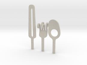 Knife Fork Spoon Head Set - Innovation vs. Utility in Natural Sandstone