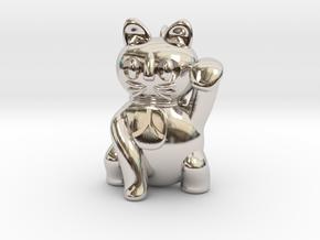 Manekineko pendant (A person is invited.) in Platinum