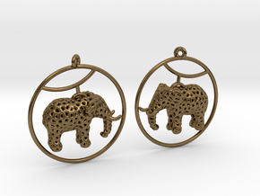 Elephant Earring in Raw Bronze