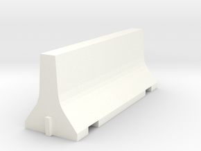 N Scale 8 Foot Jersey Barrier in White Strong & Flexible Polished