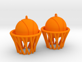 Basket earrings in Orange Processed Versatile Plastic