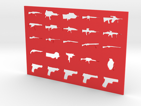 Guns Stencil in Red Strong & Flexible Polished