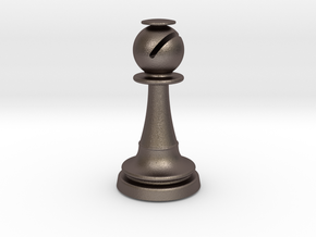 Inception Bishop Chess Piece (Heavy) in Polished Bronzed Silver Steel