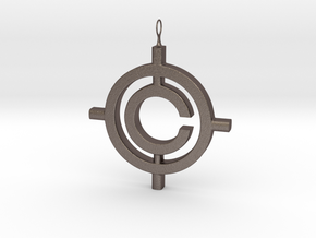 The Conspiracy Pendant in Polished Bronzed Silver Steel