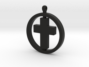 Cross with spinning ring in Black Natural Versatile Plastic