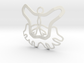 Butterfly Pendant in White Natural Versatile Plastic