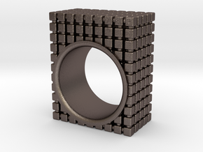 PIXEL RING - SIZE 7 in Polished Bronzed Silver Steel