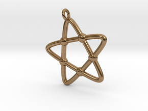 Hypotrochoid Star Pendant in Natural Brass