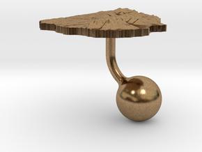 Uruguay Terrain Cufflink - Ball in Natural Brass
