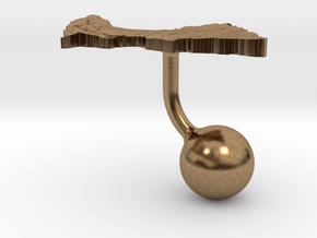Central African Republic Terrain Cufflink - Ball in Natural Brass
