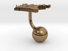 Cameroon Terrain Cufflink - Ball in Natural Brass