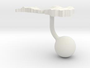Latvia Terrain Cufflink - Ball in White Natural Versatile Plastic