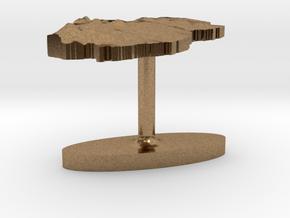 Qatar Terrain Cufflink - Flat in Natural Brass