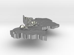 Guyana Terrain Silver Pendant in Raw Silver