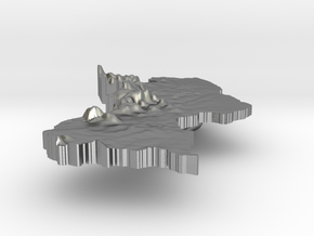 Guyana Terrain Silver Pendant in Natural Silver